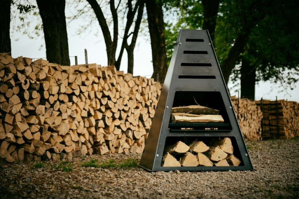 Metal Chiminea with wood storage