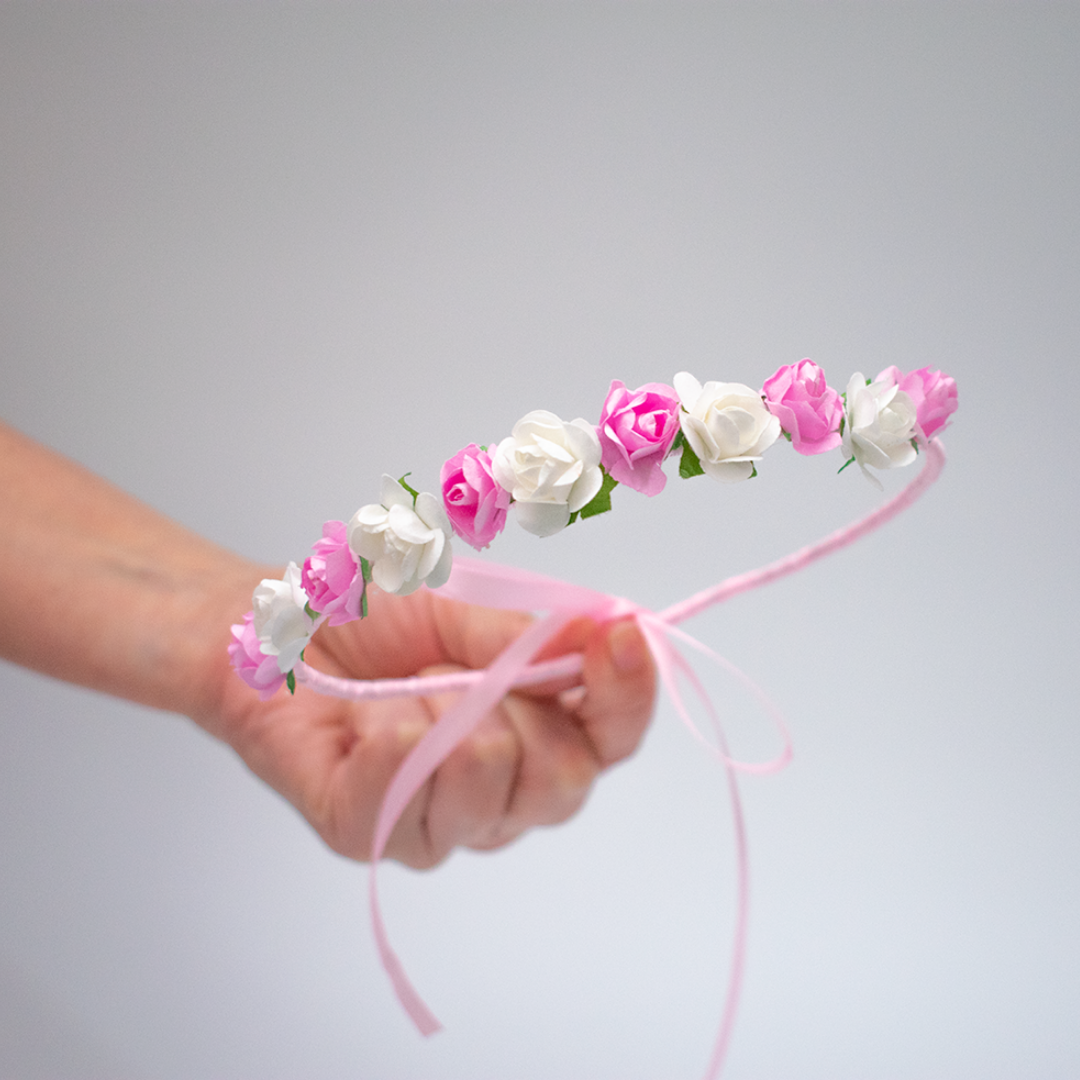 Corona Rosas rosa y blanca