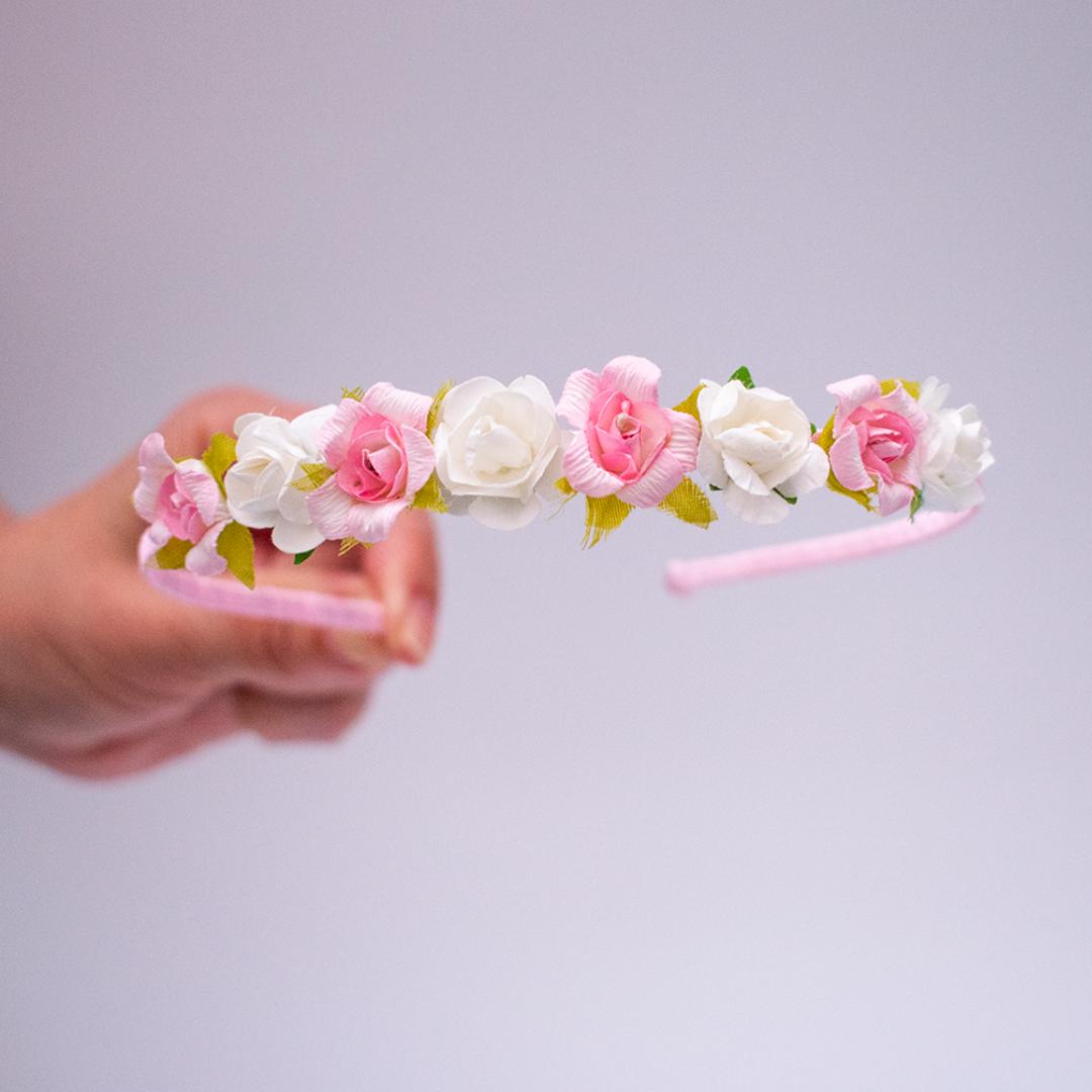 Diadema rosas rosa y blanco