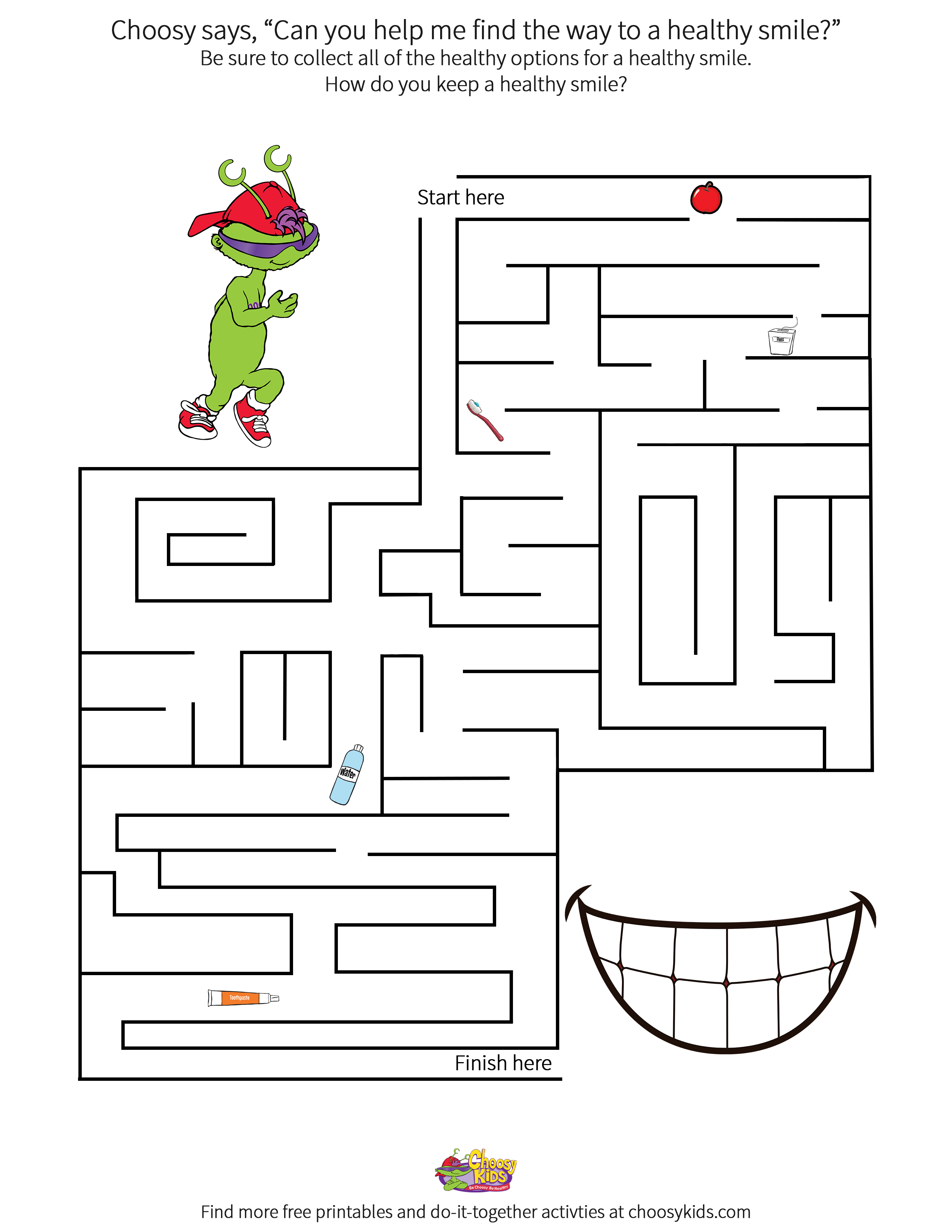 Choosy Healthy Smile Maze Printable