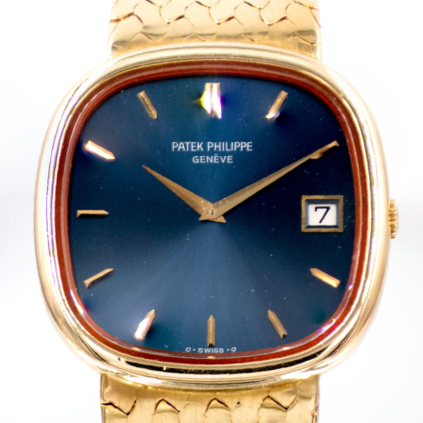 Patek Philippe Mens Jumbo Ellipse TV Screen 18k Gold Watch & Box Ref. 3604/1