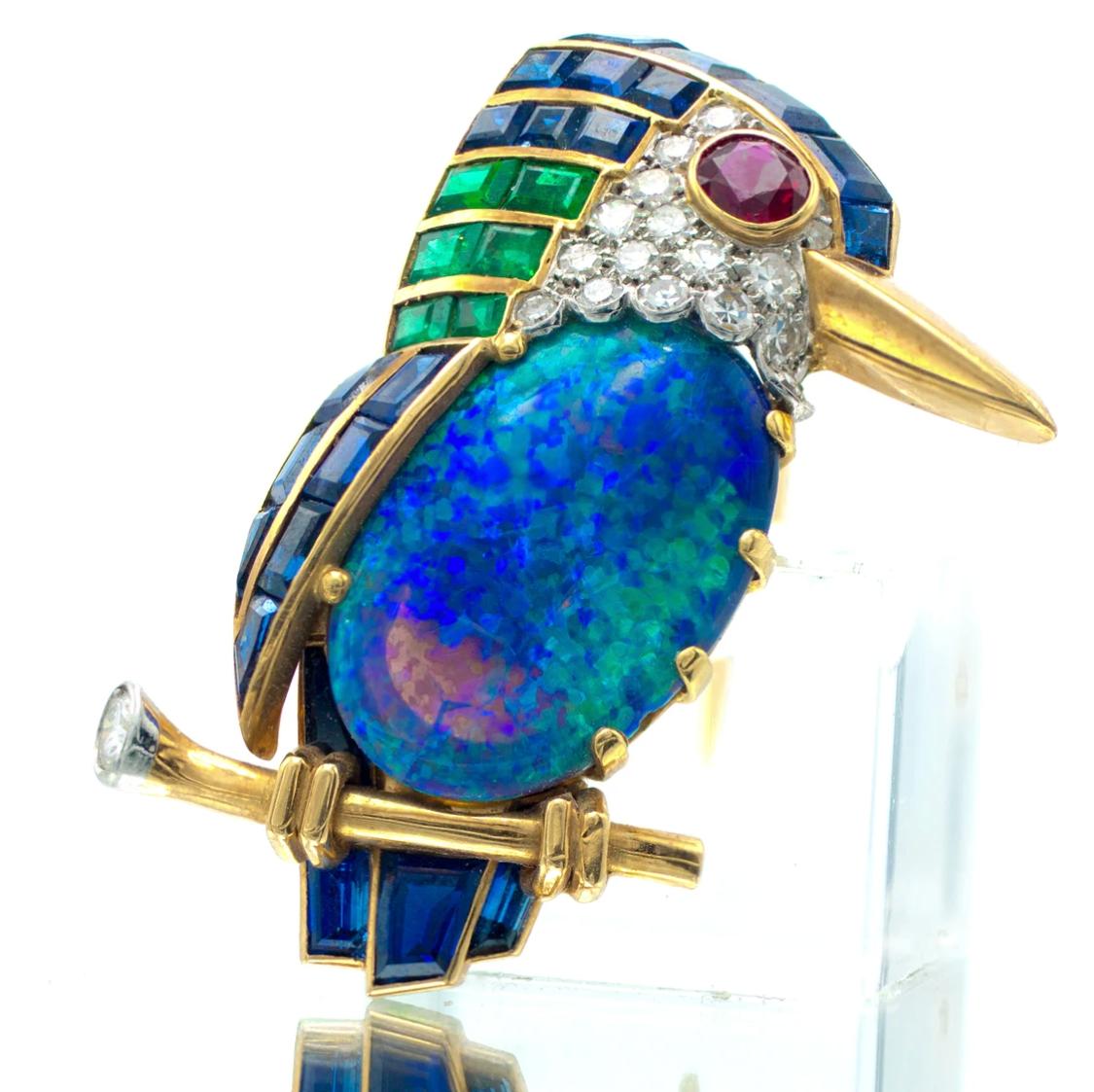 Vintage Cartier London Kingfisher Bird Brooch - Australian Black Opal