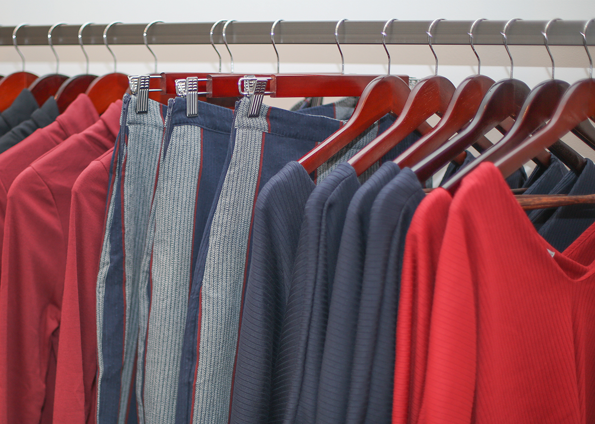 A display of ethical and sustainable clothing