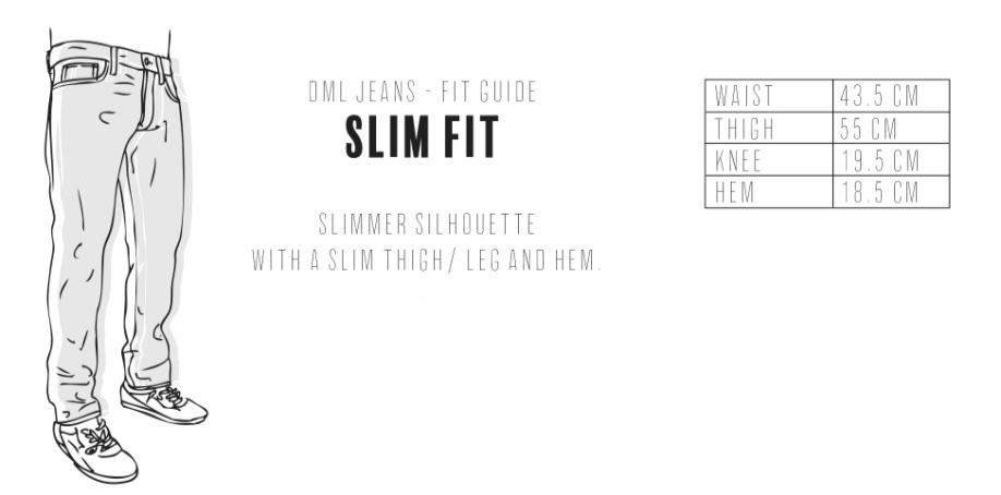 Dml Jeans - Slim Fit Size Guide