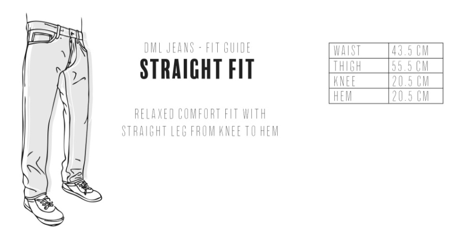 Dml Jeans - Straight Fit Size Guide