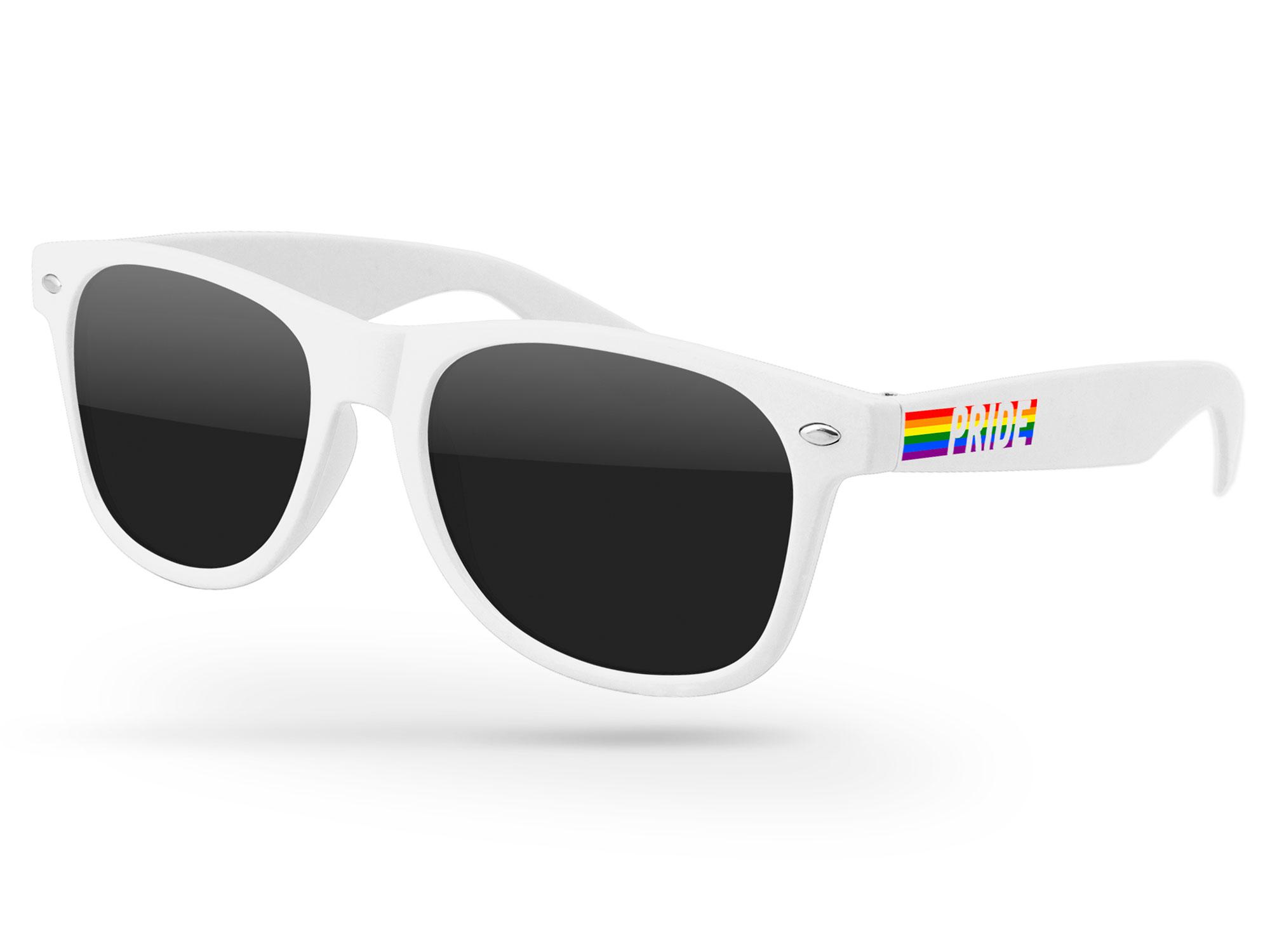 Pride Retro Promotional Sunglasses w/ full-color temple imprint