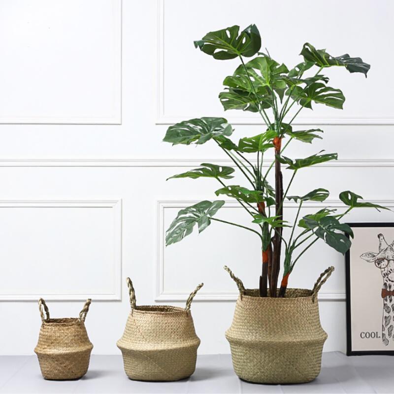 Shop Folding Sea Grass Rattan Garden Plant Baskets