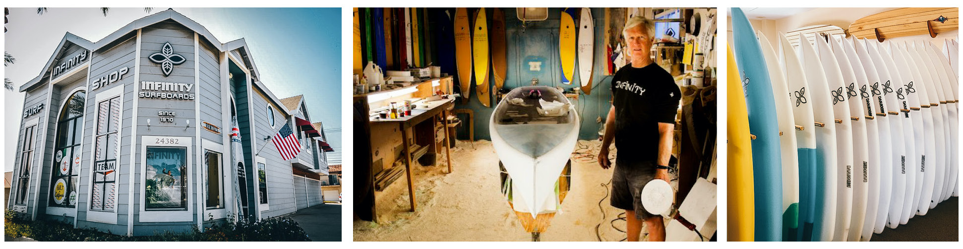 The Infinity Surfboards Shop located in Dana Point, California