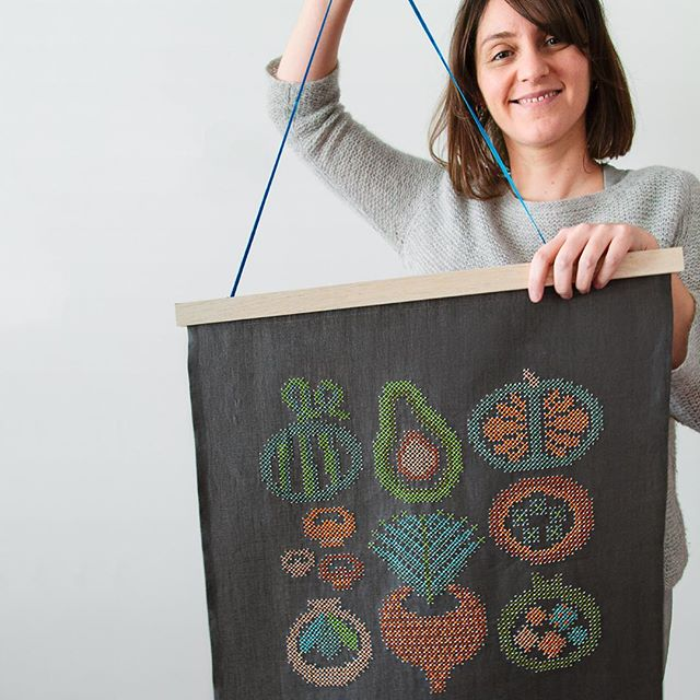 Karen Barbe with her large scale embroidery textile