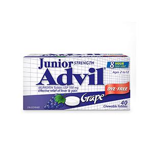 Children's Advil (100 ML, Grape Flavour) Ibuprofen Suspension Dye Free Temporary Fever Reducer