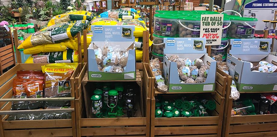 mealworms, fat balls, bird feeders