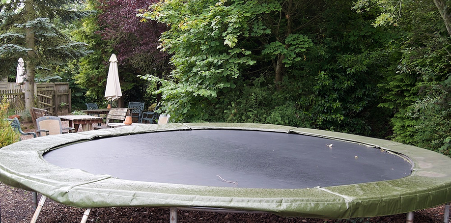 Trampoline in outdoor play area