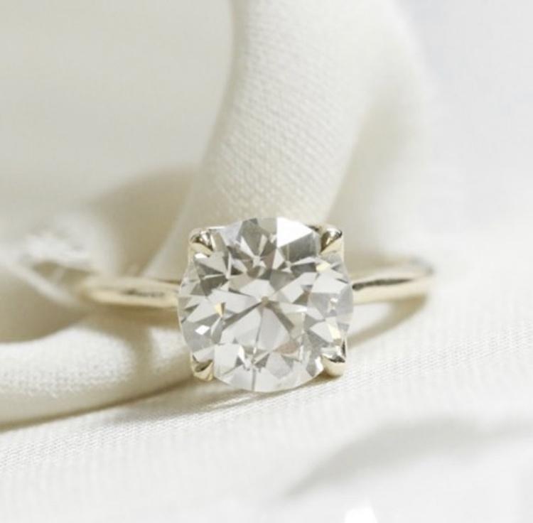 old european cut round diamond custom engagement ring in yellow gold