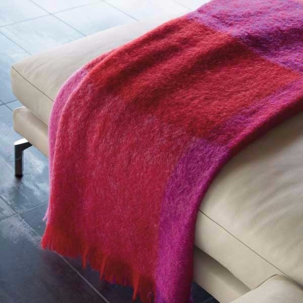 Mohair Check Throw - $200.00 USD