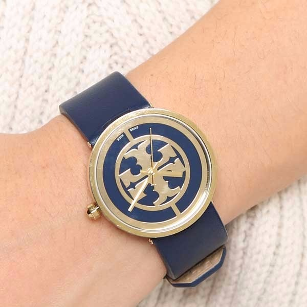Tory Burch Navy Blue Leather Strap Watch