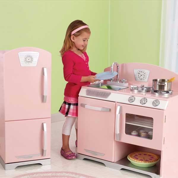 KidKraft Pink retro Wooden Play Kitchen - $132.95 USD