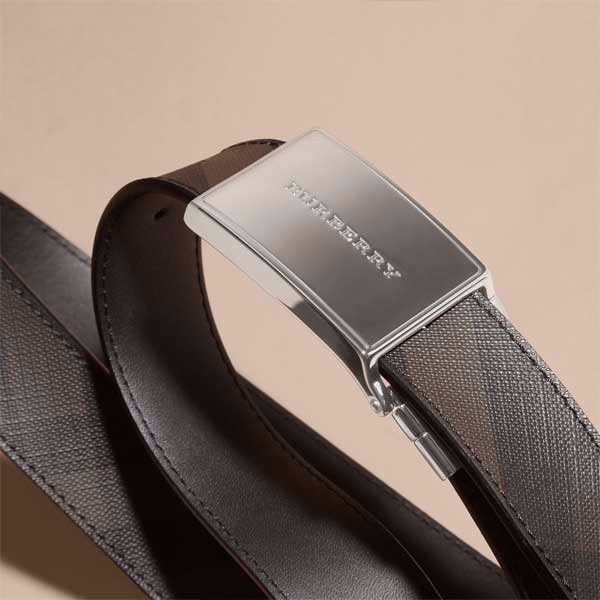 Burberry Reversible Smoked Check and Leather Plaque Belt - $395.00 USD