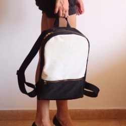 MILAN backpack, black and white women's backpack.