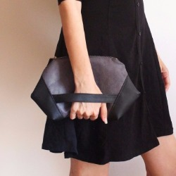 PARIS Clutch, modern gray and black evening bag