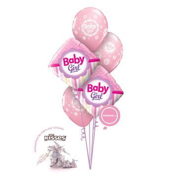 Globos y regalos de nacimiento de niña