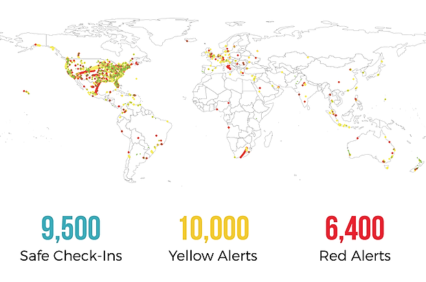 The Amount of Messages Sent in Different Countries Using the Revolar Safety Alert System