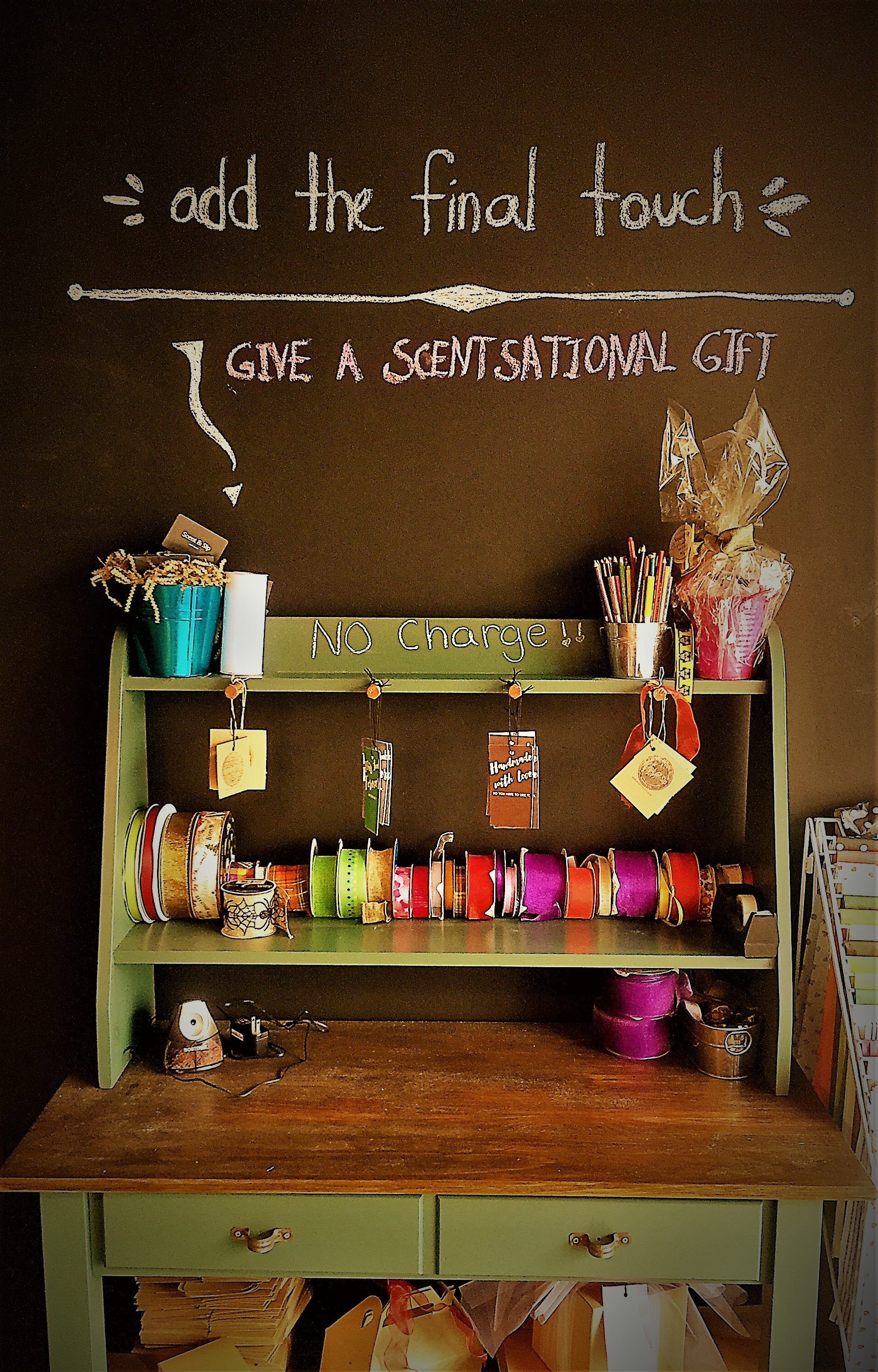 Free gift wrapping station at Scent & Sip in Lansdale