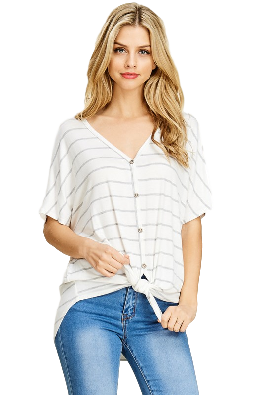 Forever Yours Striped Front Tie Top