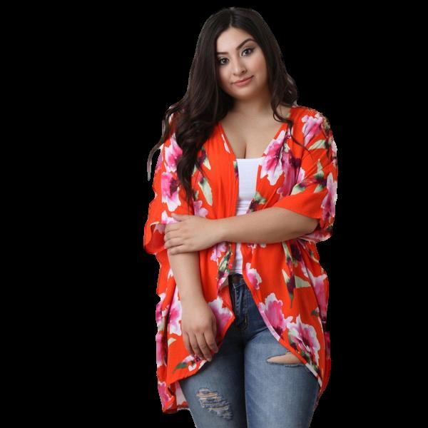 Vibrant Curvy Floral Kimono Cover up