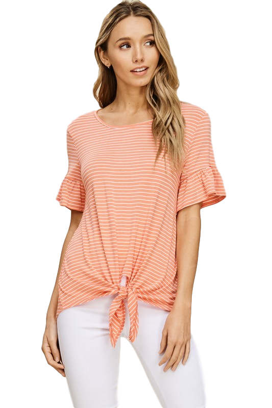Addison Striped Coral Tie Knot Top