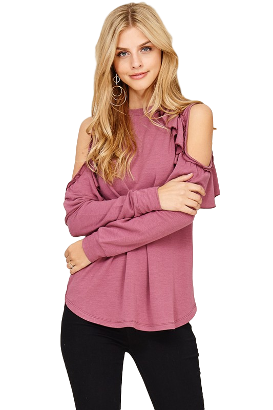 CoCo Ruffle Cold Shoulder Top