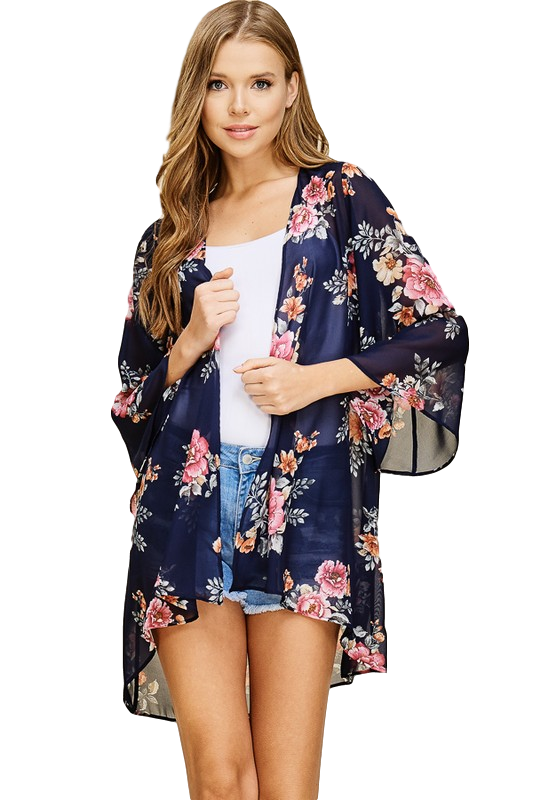 Navy and Bright Floral Kimono