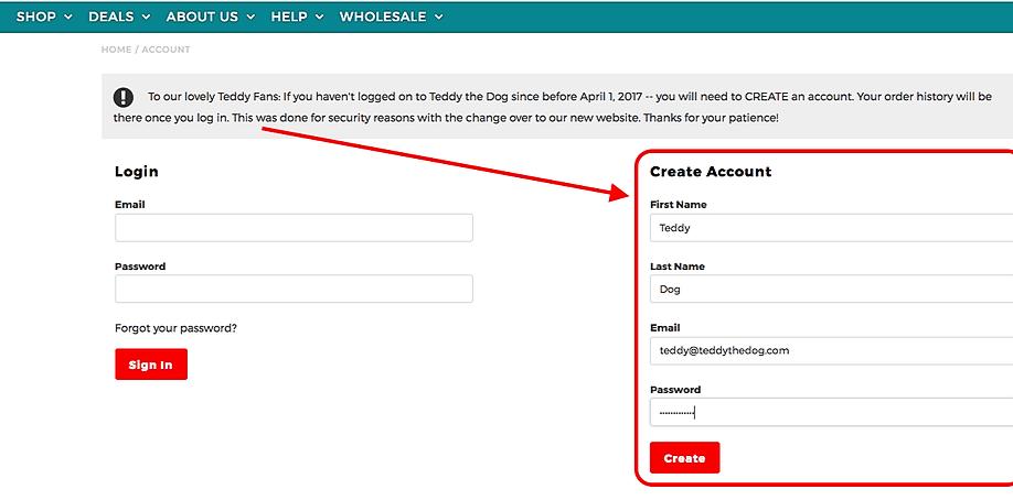Create a Teddy the Dog Wholesale Account