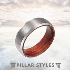 MENS WEDDING BAND 8MM SILVER TUNGSTEN ROSE WOOD INLAY RING