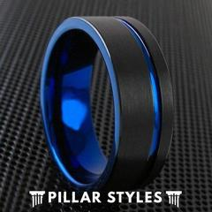 THIN BLUE LINE RING AND BLACK RING BLUE GROOVE TUNGSTEN MEN'S WEDDING BAND