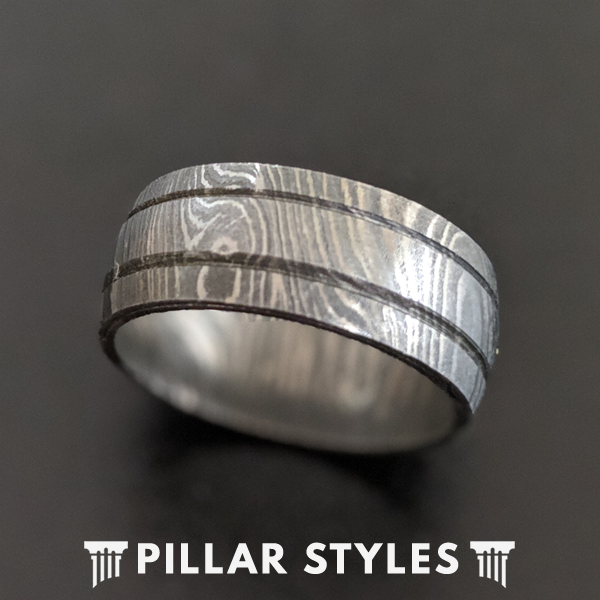 Gunmetal Grey Damascus Ring with Dual Grooves