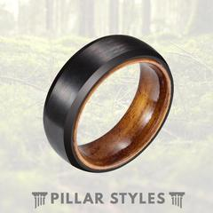 MATTE BLACK WITH ROSEWOOD WOOD WEDDING BAND
