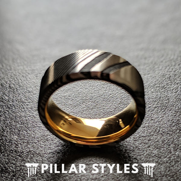 Silver and Black Damascus Ring with 18K Gold Interior