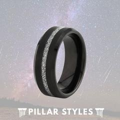 TUNGSTEN BLACK METEORITE JEWELRY WEDDING RING