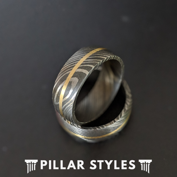 14K Gold Damascus Steel Ring