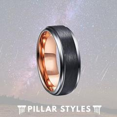 BLACK TUNGSTEN RING WITH ROSE GOLD INTERIOR