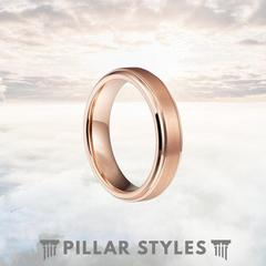 18K ROSE GOLD RING WITH 5MM TUNGSTEN WEDDING BAND