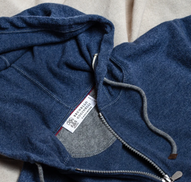 BRUNELLO CUCINELLI CASHMERE ZIP HOODED SWEATSHIRT