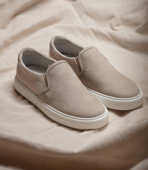 BRUNELLO CUCINELLI NUBUCK & CANVAS SLIP-ON SNEAKER