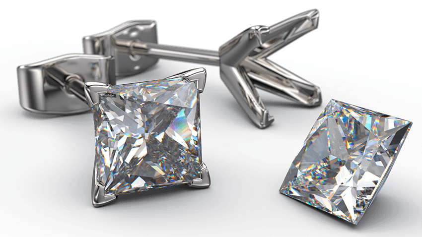 4 Claw Princess Cut Diamond Earring Studs | Australian Diamond Network