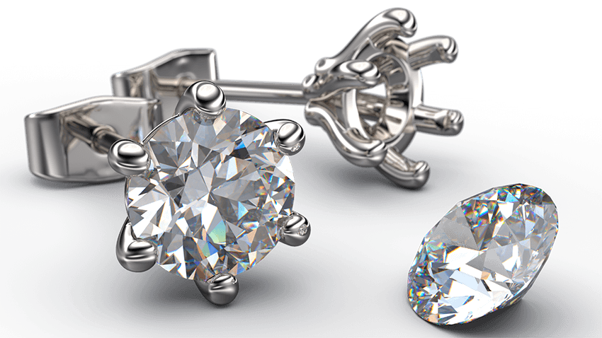 6 Claw Round Brilliant Cut Solitaire Diamond Earring Studs   Australian Diamond Network
